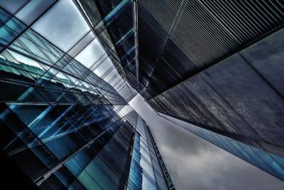 edificio, fachada, moderno, urbana, arquitectura, reflexión, perspectiva, acero, ciudad