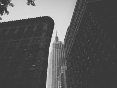 Architektur, Stadt, Gebäude, Monochrom, Innenstadt, Himmel, urban, hoch, Turm