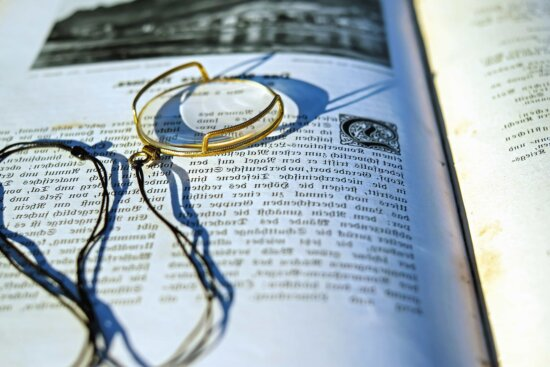 paper, book, document, bookmark, magnifying glass