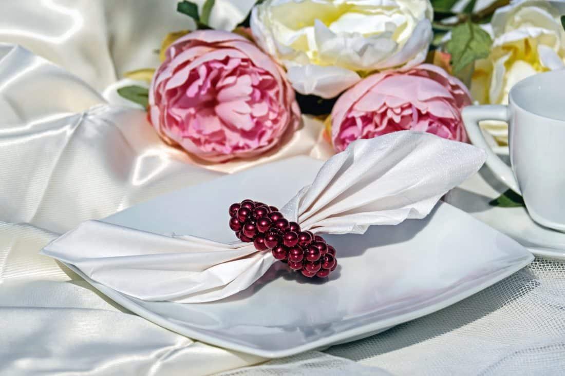 Stillleben, Blumen, Serviette, Anordnung, Rose, rosa, Rosen