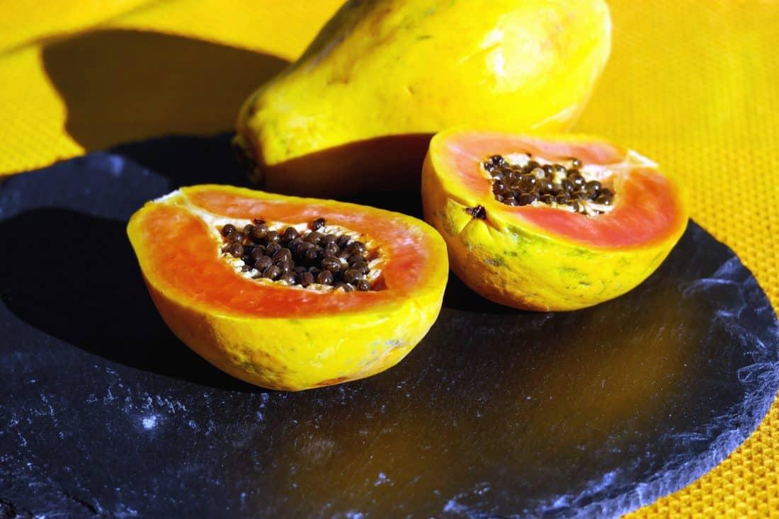 sladká, řez, potraviny, ovoce, papája