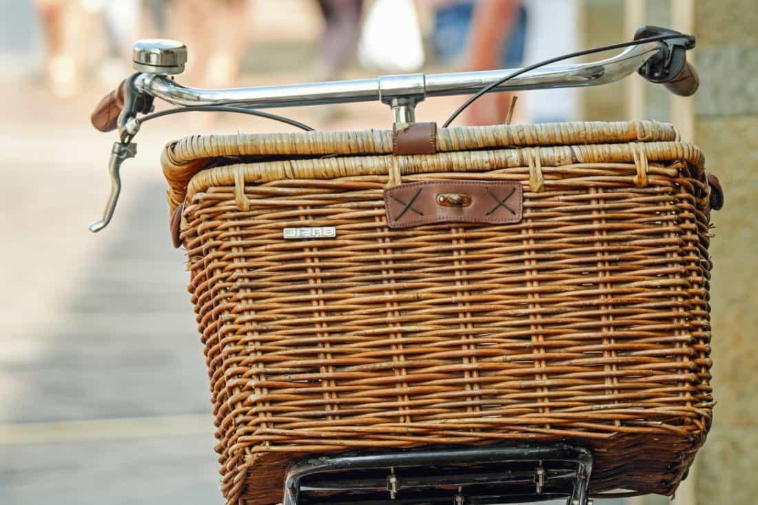 wicker basket, bicycle, transport, wood, metal, wicker