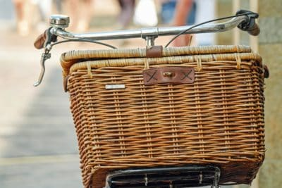 wicker basket, bicycle, transport, wood, metal, wicker
