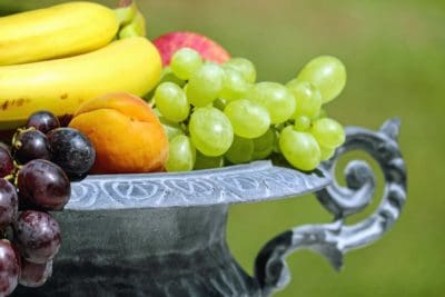 fruit, food, grape, lemon, vitamin, banana, apricot, metal
