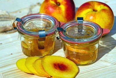 jar, miel, sucré, peach, verre, maison