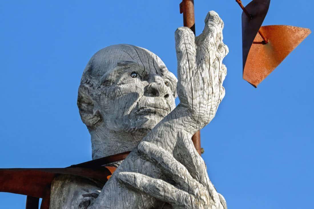 skulptur, sky, træ, metal, statue, udendørs, art
