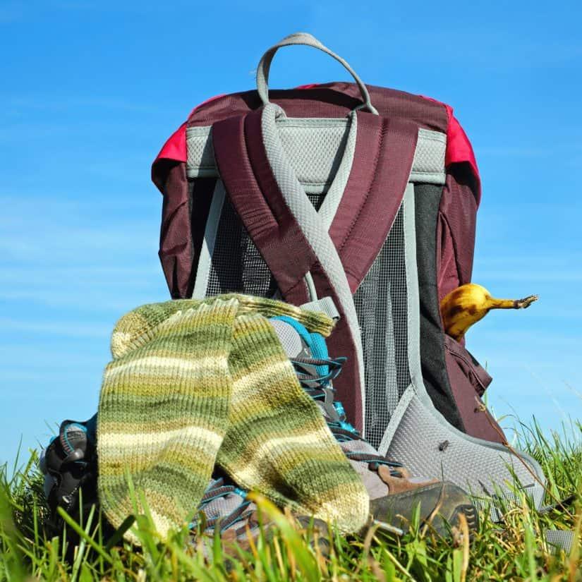 sky, nature, summer, grass, outdoor, backpack, grass, sock