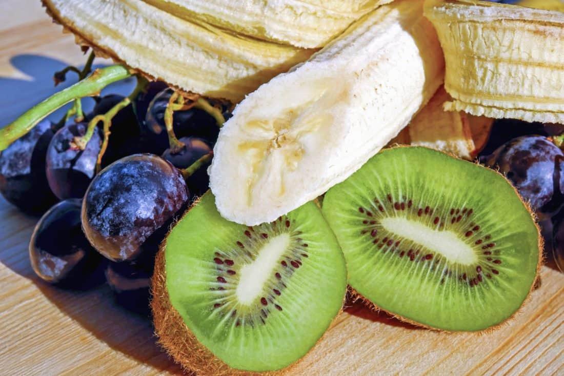 jídlo, ovoce, kiwi, strava, sladká, řez, vitamín, dezert, hrozny, banán