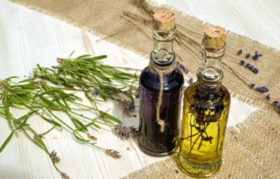 herb, aromatherapy, oil, medicine, bottle, glass, table