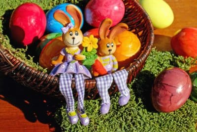 egg, Easter, rabbit, colorful, wicker basket, grass