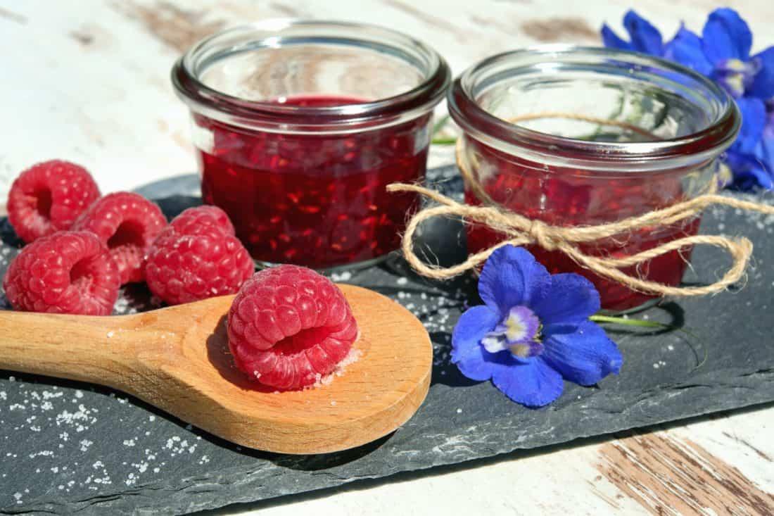 en bois, maison, sweet, verre, aliments, fruits, berry, framboise, fleur