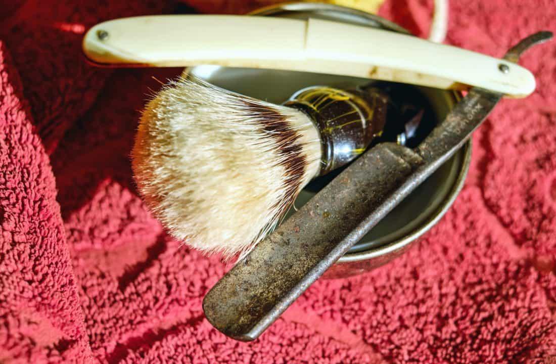 aparat za brijanje, obrt, kist, objekt, hrđe, ručnik, metalni