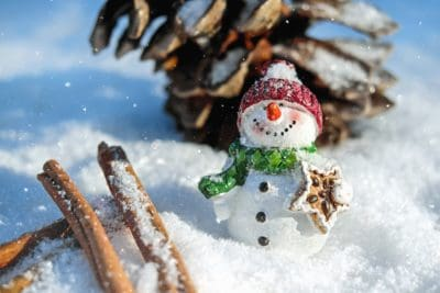 snowman, snow, figure, hat, wood, cold, snowflake