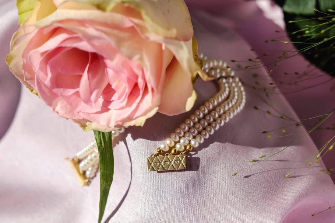 jewelry, pearl, flower, still life, bouquet, rose, petal, bracelet, plant