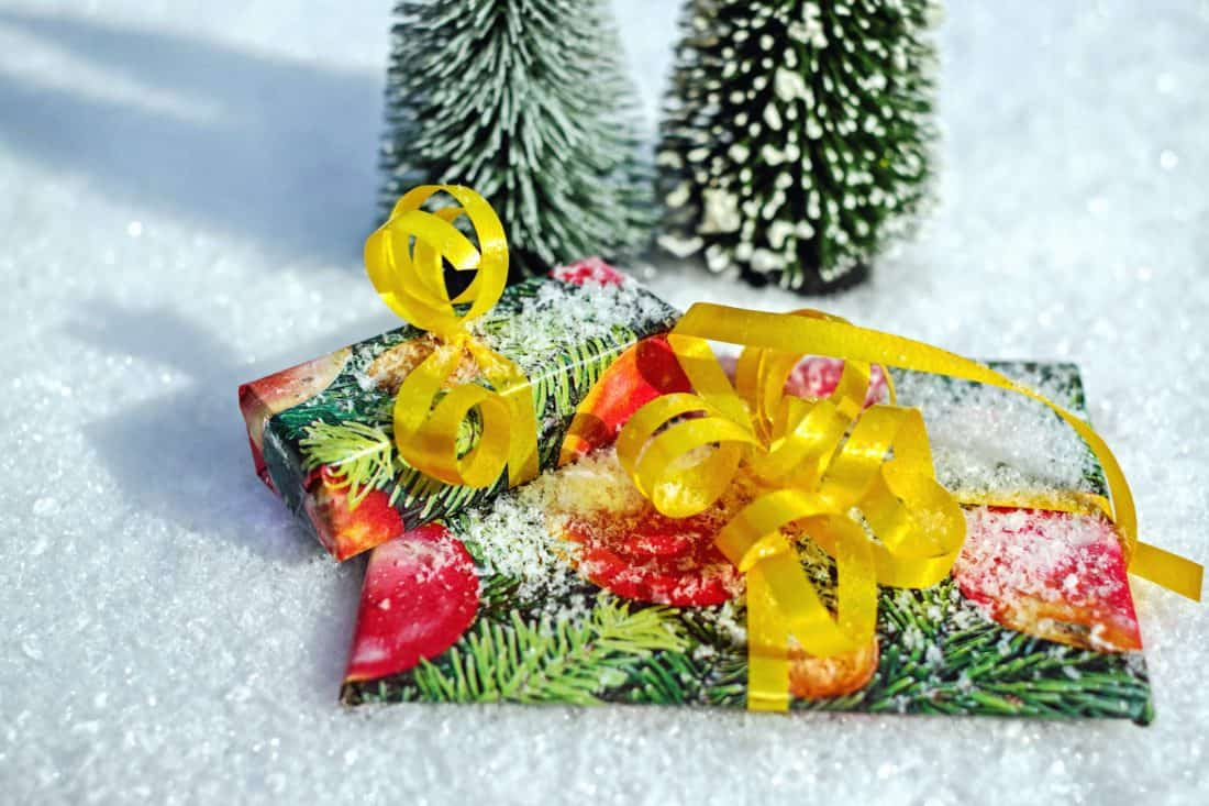 gift, tape, new year, Christmas, snow, snowflake, decoration
