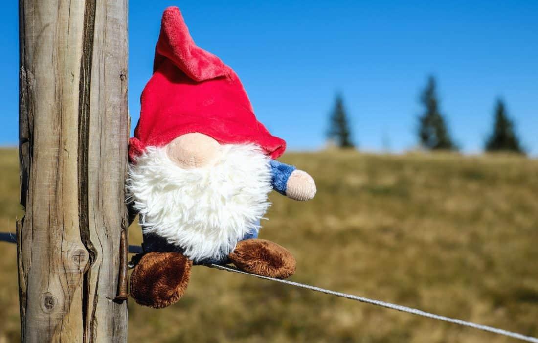 dwarf, sky, fence, wire, doll, toy, meadow, day