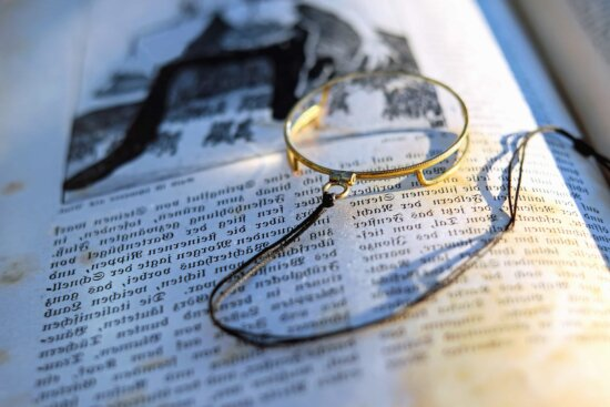 paper, document, book, text, learning, reading, magnifying glass
