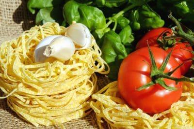 spaghetti, dîner, nourriture, repas, déjeuner, tomate, légume