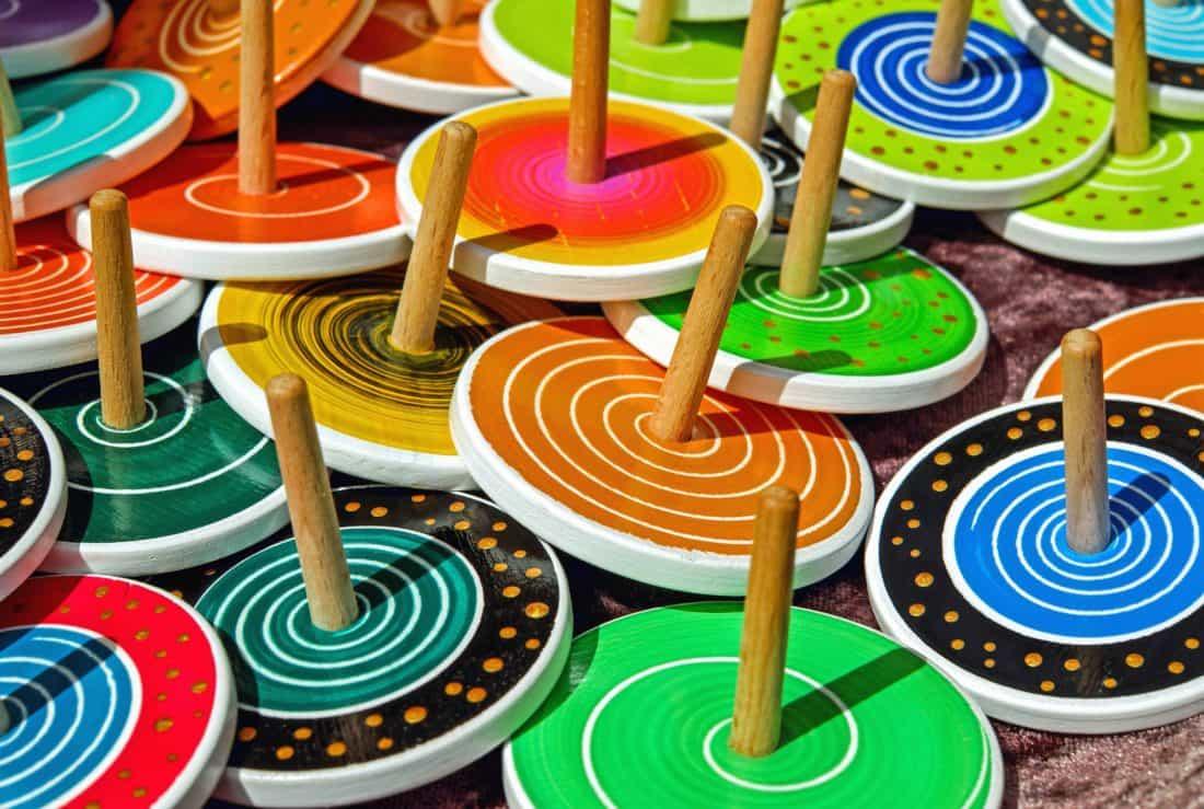 гра, обертання, іграшки, барвисті, барвисті, вісь, коло