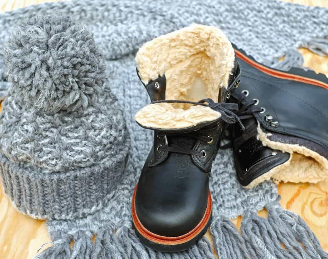 hat, scarf, shoe, wool, leather, footwear, winter