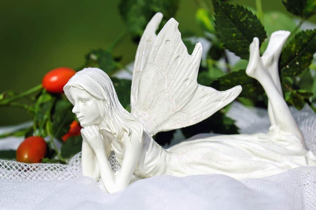 figure, angel, girl, plant, leaf, decoration, art