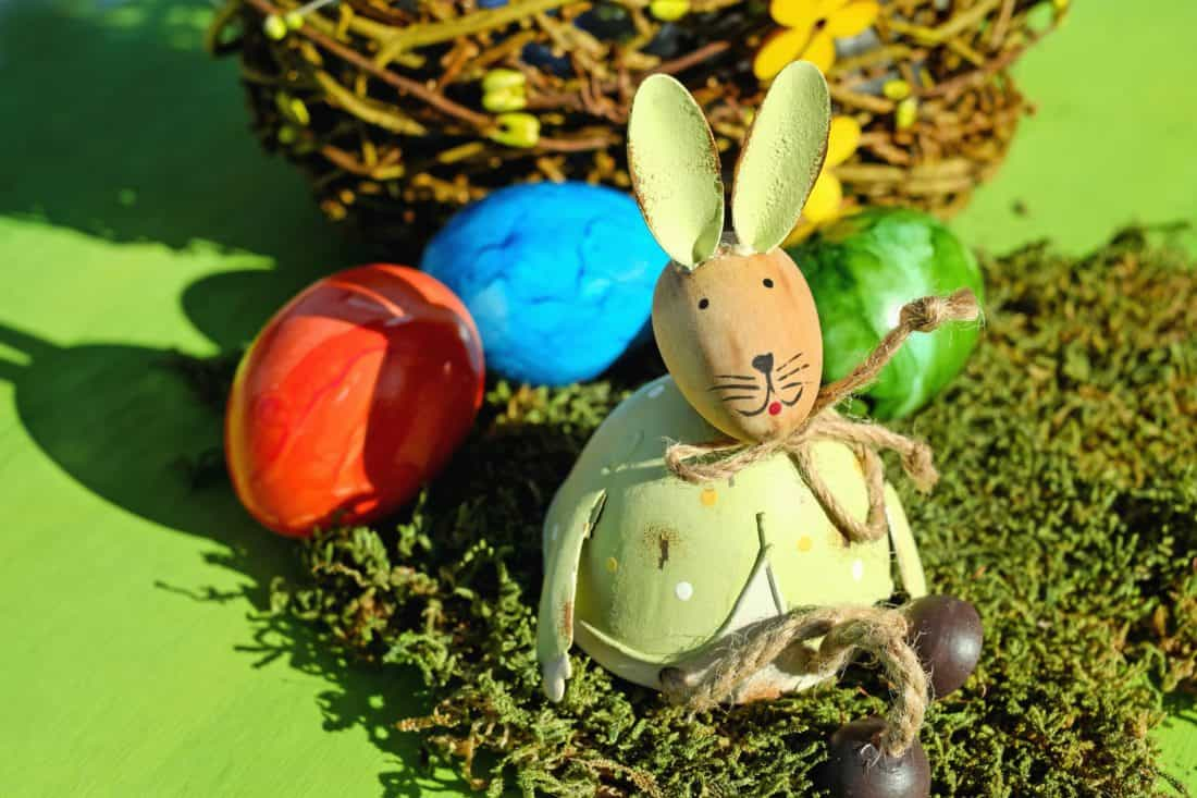 egg, Easter, rabbit, grass, colorful