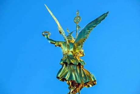 sky, statue, monument, gold, wreath, wing, art