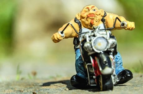 toy, motorcycle, doll, motorcyclist, object