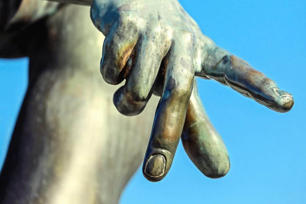 hand, macro, detail, object, bronze, sculpture, statue, finger, sky