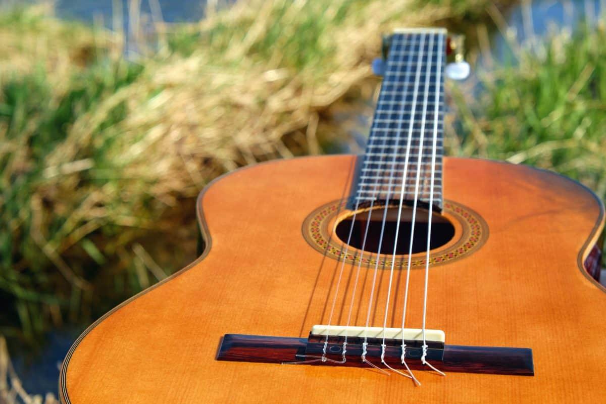 guitare, en bois, bois, instrument, musique, musicien
