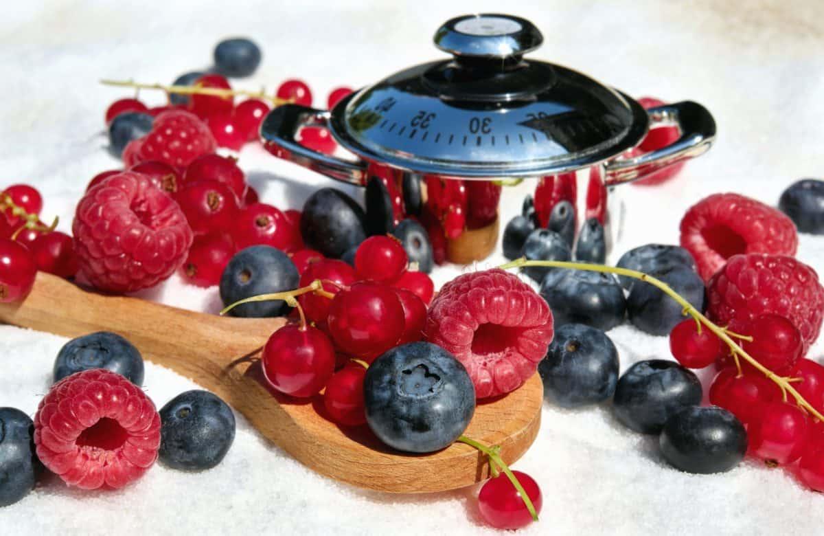 nádobí, Malina, rybíz, jídlo, kuchyně, ovoce, bio