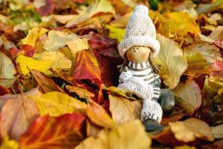doll, toy, autumn, leaf, hat, object, forest