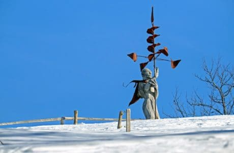 winter, cold, snow, tree, sky, outdoor, statue, metal, construction, fence