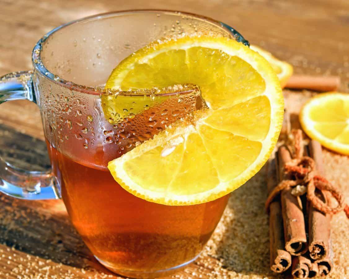 cold, cinnamon, fruit juice, tea, lemon, glass, drink, citrus