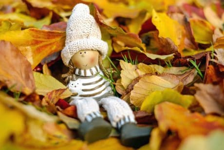 doll, toy, autumn, leaf, autumn, decoration, hat, grass, nature