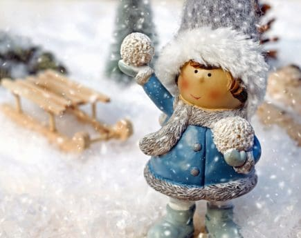 snowflake, winter, doll, toy, hat, cold, scarf, jacket, girl