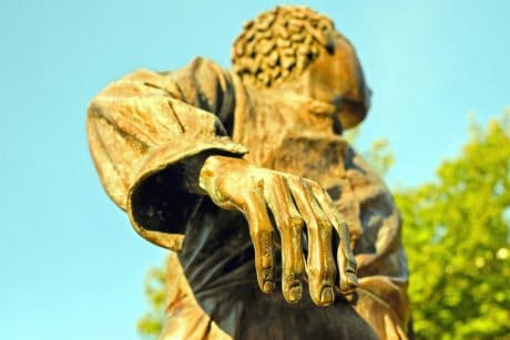 statue, sculpture, sky, outdoor, hand, finger, art