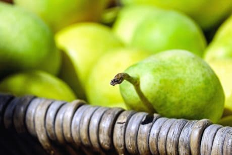 fruit, pear, basket, wood, organic, vitamin, food, diet