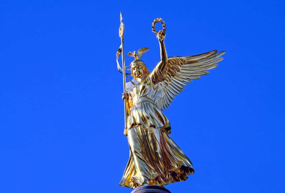 skulptur, sky, guld, angel, blå himmel, object