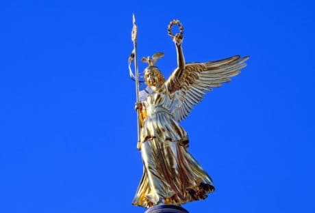 sculpture, sky, gold, angel, blue sky, object