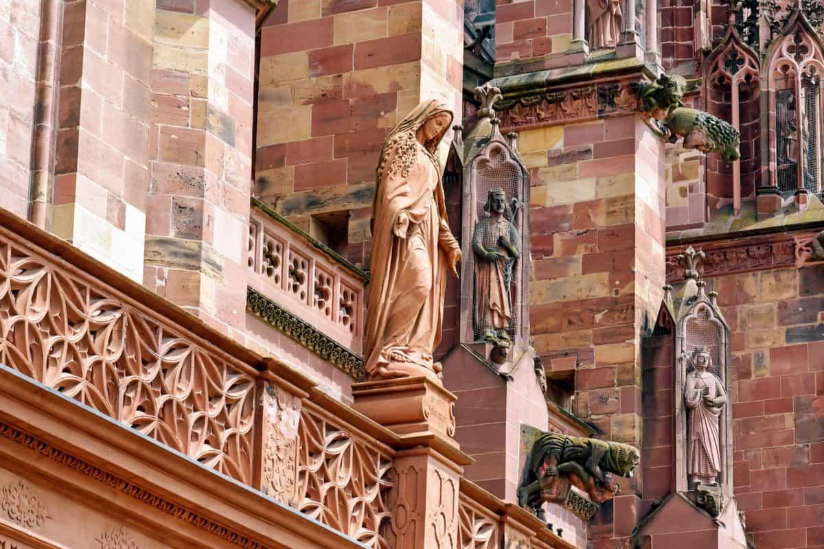 church, exterior, religion, sculpture, art, wall, brick, facade