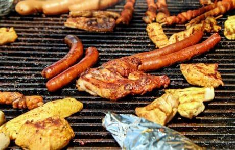 klobása, hovězí, maso, gril, jídlo, vepřové, jídlo, večeře