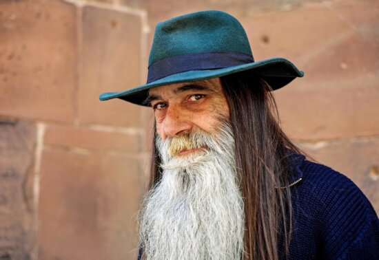 beard, mustache, portrait, hat, person, man, face, outdoor