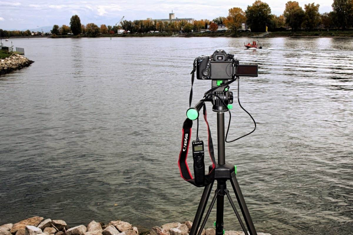 photo camera, tripod, river, water, wood, reflection, equipment, sky