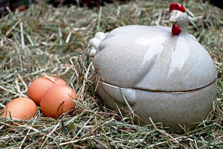 Easter, decoration, porcelain, egg, grass, hay, nest, figure, chicken