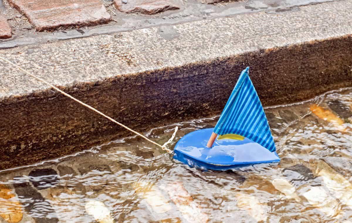 giocattolo, barca, vela, barca a vela, acqua, cemento, canale