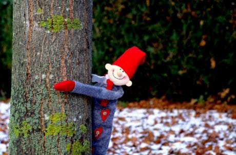 toy, object, wood, nature, tree, leaf, outdoor, doll, winter, snow