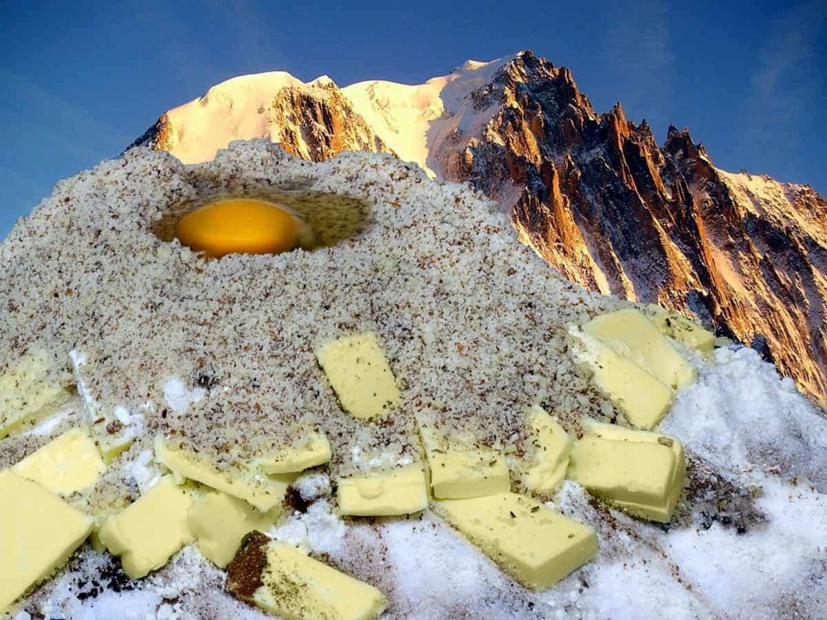 음식, 치즈, 설탕, 일러스트 레이 션, photomontage, 산, 하늘, 구름