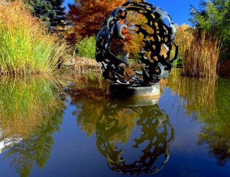 nature, water, fountain, sculpture, reflection, tree, outdoor