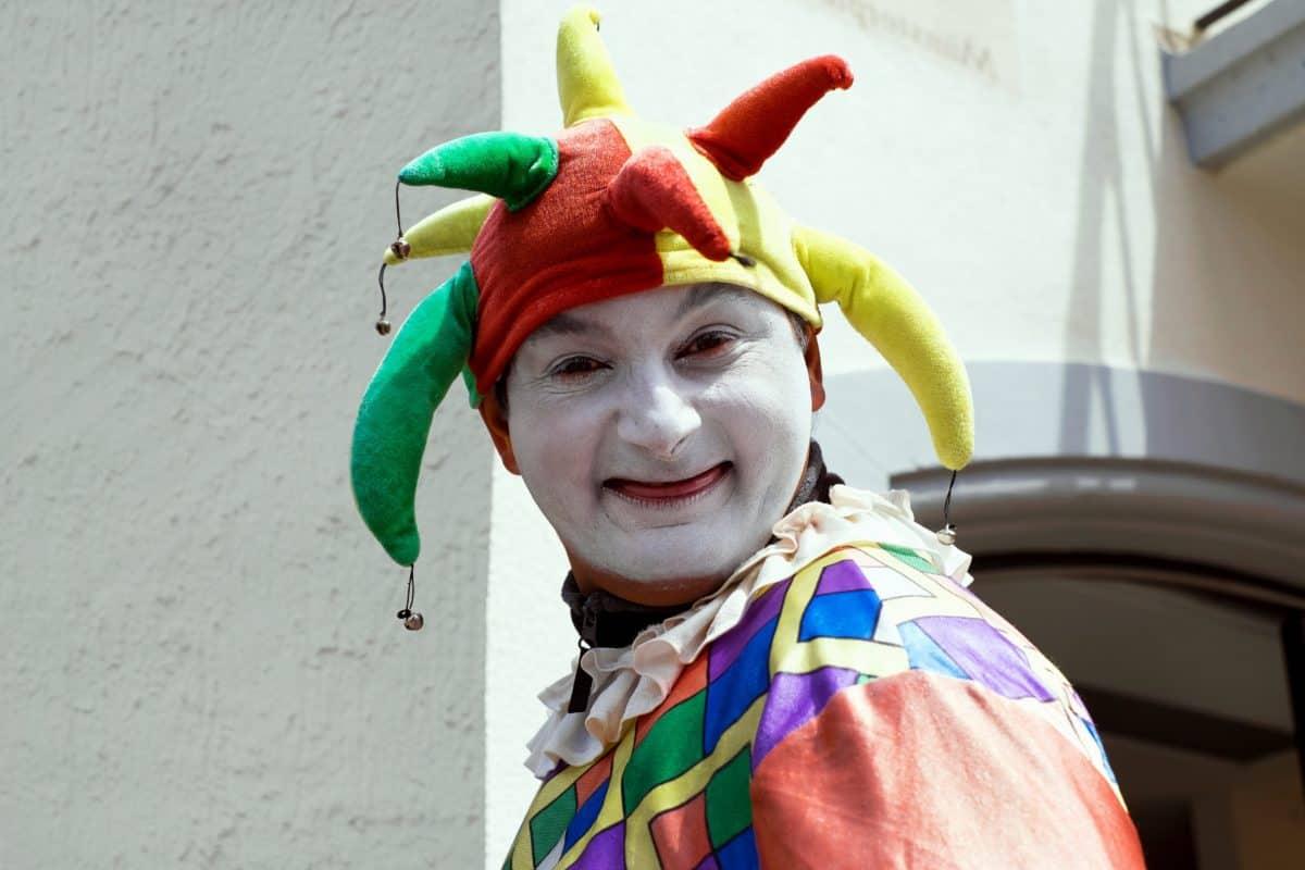 człowiek, kolorowe, clown, lalka, człowiek, strój, uśmiech, aktor, osoba
